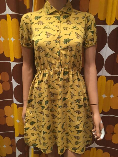 Run & Fly Donna stile retrò vintage t shirt vestito con OVUNQUE STAMPA DINOSAURO