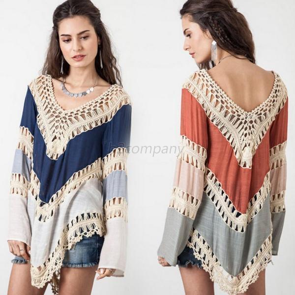 Boho Women V neck  Crochet Kimono Blouse Plus Size Shirt  Long Knit Tunic Tops