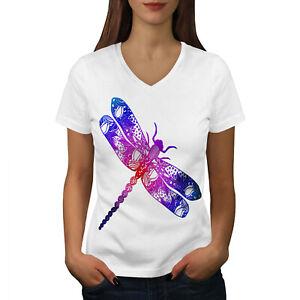 Le Meilleur Wellcoda Colorful Dragon Fly Femme T-shirt Col V, Insectes Design Graphique Tee-afficher Le Titre D'origine Soyez Astucieux Dans Les Questions D'Argent