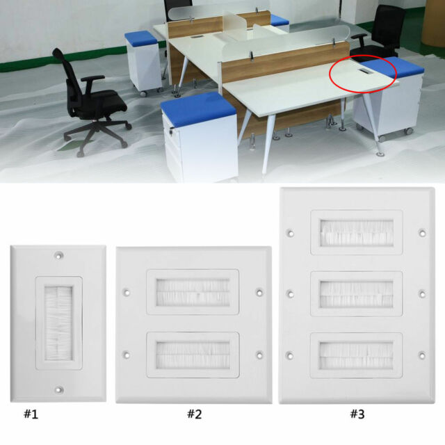Single Double Gang Brush Wall Plasma LCD TV Outlet Socket Cable Tidy Entry Plate