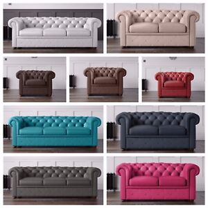Image Is Loading Leather Chesterfield Sofa Armchairs In Various Colours 3