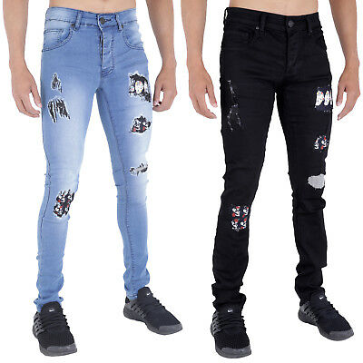Ehrlich Mens Ripped Jeans Super Skinny Stretch Rip Repair Frayed Rock Skull Roses By Ad
