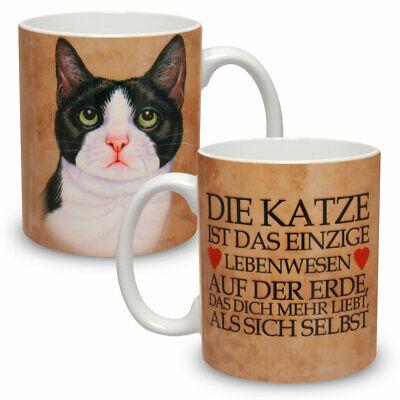 Kaffee Tasse Becher mit Motiv Große XXL Schwarz-Weiße Katze