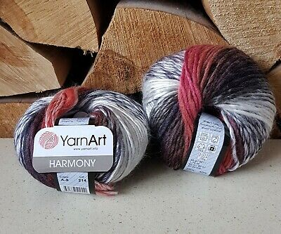 YarnArt Harmony Chunky Multi Coloured knitting Yarn 40/% Wool  5 x 50g A9