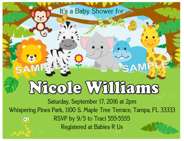 20 Zoo Jungle Safari Animals Baby Shower Invitations W Envelopes For