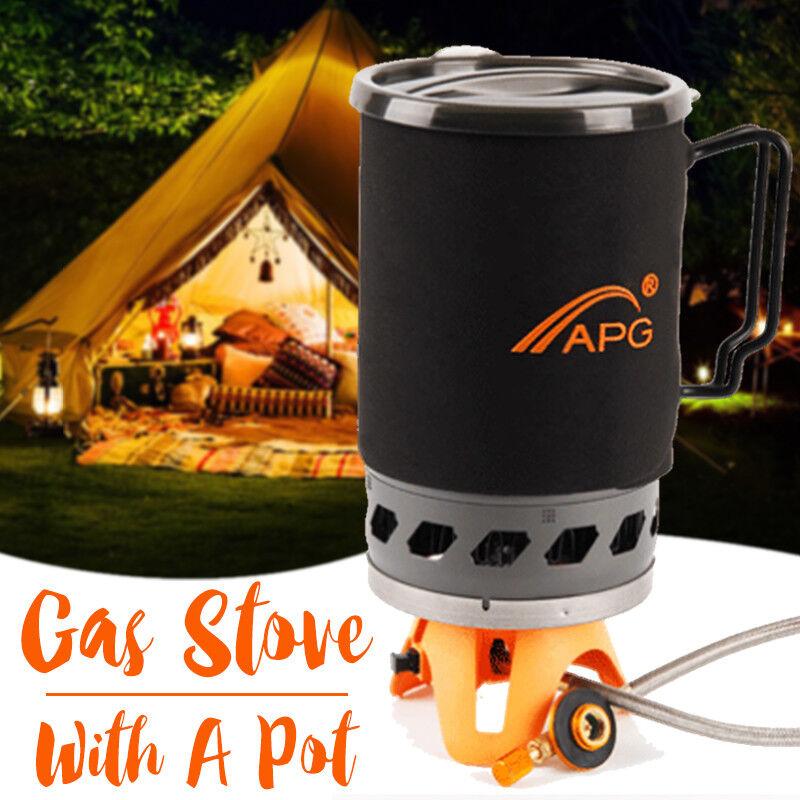 Gas estufa de camping rápido hervir con 1.4L Taza Olla Olla portátil bolsa de transporte