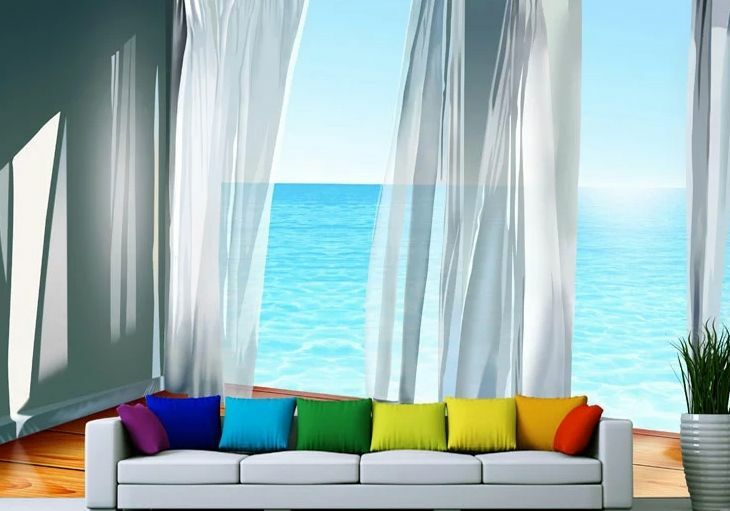Huge 3D Curtains Sea Wall Paper Wall Print Decal Wall Deco Indoor Wall Murals