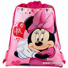 Disney Minnie Mouse Authentic Licensed Pink Drawstring Bag School Backpack