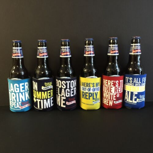 Samuel Sam Adams Boston Lager Beer Bottle Can Koozie Cooler NEW ~ Set of 6 RARE