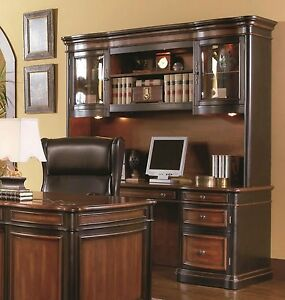 executive credenza desk & hutch w/ glass doors two tone wood