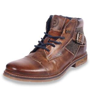 Details zu Bugatti Herren Stiefeletten Boots Schnürstiefeletten Winterstiefel Schuhe braun