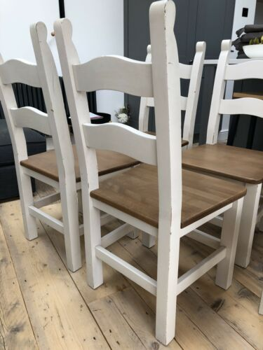 6 x sturdy solid shabby high back beech Breton style wooden dining chairs. White