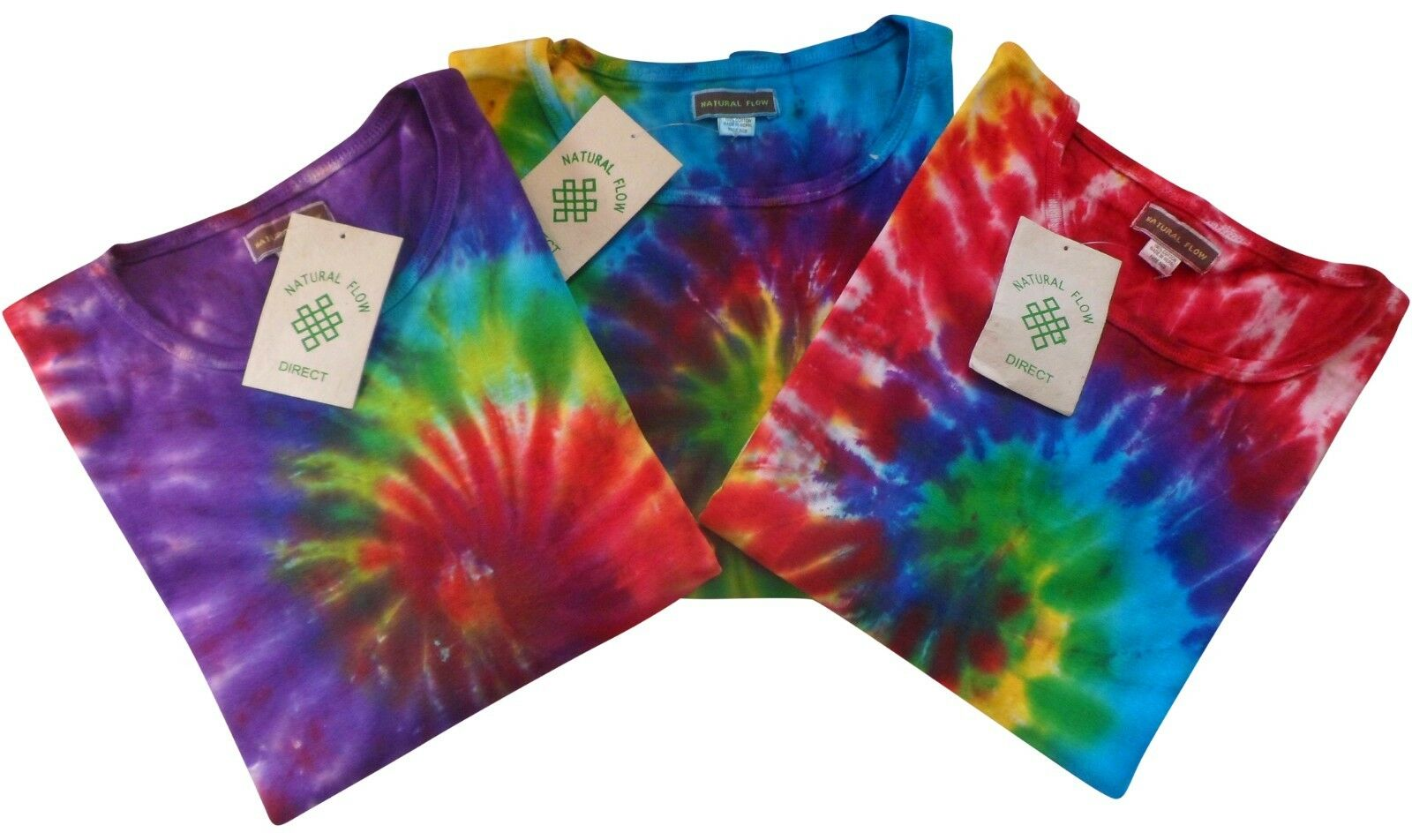 FAIR TRADE HIPPY BOHO FESTIVAL NEPALESE TIE DYE LONG SLEEVE T-SHIRT TOP ONE SIZE