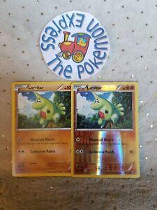 Pokemon-TCG-x2-Larvitar-41-124-1-Rev-Holo-Fates-Collide-Mint-English-Fighting
