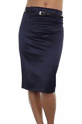 Ladies Smart Shine Satin Pencil Skirt FREE Skinny Belt Navy Blue NEW 8-18