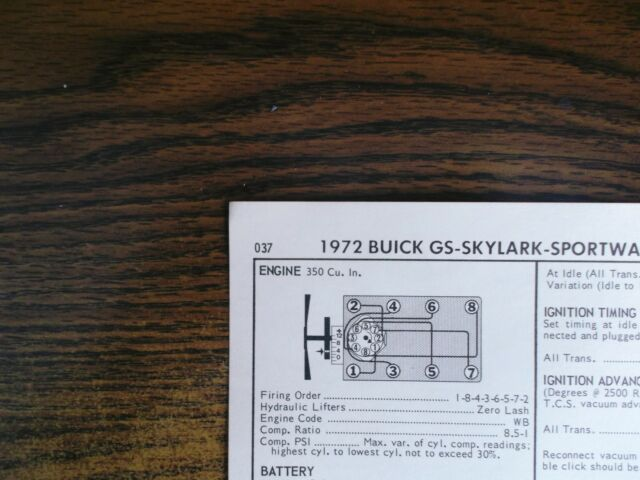 1972 buick & gs series models 350 ci v8 4bbl sun tune up chart excellent  shape