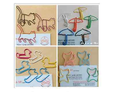 10 x Cute kawaii paper clips variety 25+ designs fab quality multi colour school