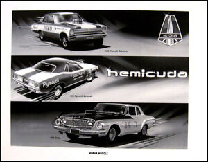 1962-Dodge-Dart-Max-Wedge-Race-Art-Print-Lithograph-1970-Barracuda-Belvedere