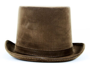Mens-Faux-Leather-Steampunk-Victorian-Weathered-Look-Top-Hat-Costume-Adult-Brown
