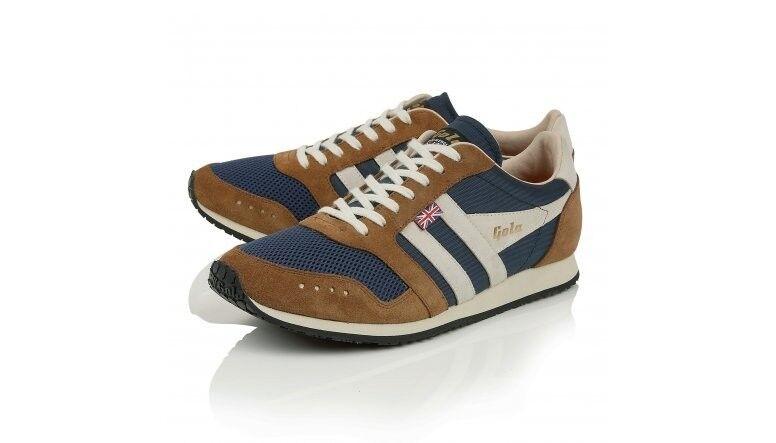 Schuhe GOLA MADE IN ENGLAND 111 TRAINER Braun / Blau, Sneakers, Lederschuhe
