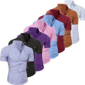NEW-Luxury-Men-039-s-Slim-Fit-Shirt-Short-Sleeve-Stylish-Formal-Casual-T-shirt-Tops