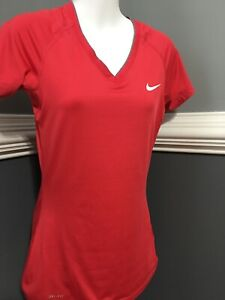 Details about Women's NIKE Pro Dri Fit Fitted V Neck Pink Shirt S, Perfect!