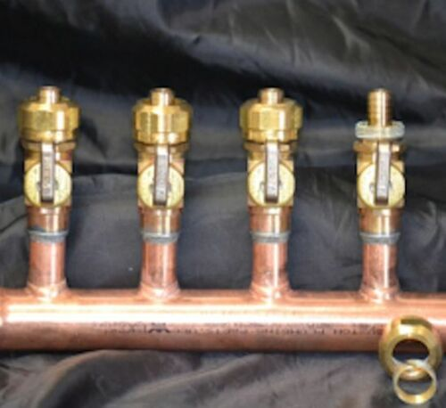 "2-12 Loop With /& W//O Ball Valves 1/"" Copper Manifold 1//2/"" Compresson Pex-AL-Pex"