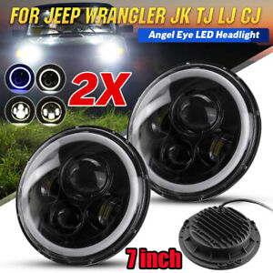 2Pcs-7-034-Inch-Round-LED-Headlights-Halo-Angle-Eyes-For-Jeep-Wrangler-JK-LJ-TJ-CJ