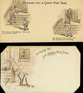 Happy-New-Year-Victorian-Cards-Lot-of-2-Iron-Dog-Joke-Ye-Society-Act