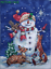 """unframed Cross stitch of  /""""Midnight snowman/"""" Christmas gift-completed Handmade"""