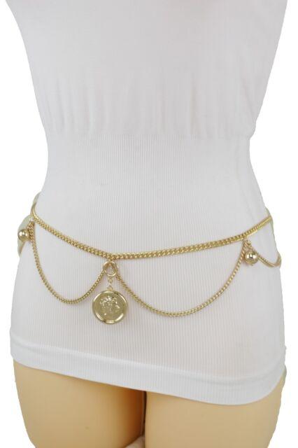 Women Gold Metal Chains Fashion Belt Hip High Waist Drape Coin Charm Plus M L XL