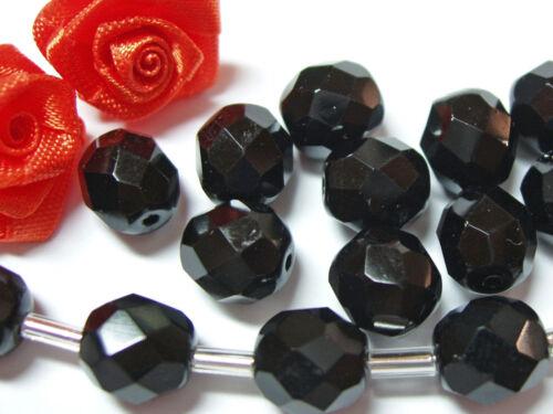 10 mm 20 Séquoia perles de verre noir; * 1208 rodé Perles