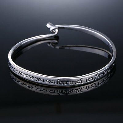 New Couple Love women men Jewelry Silver plated Letters Engraved Bangle Bracelet