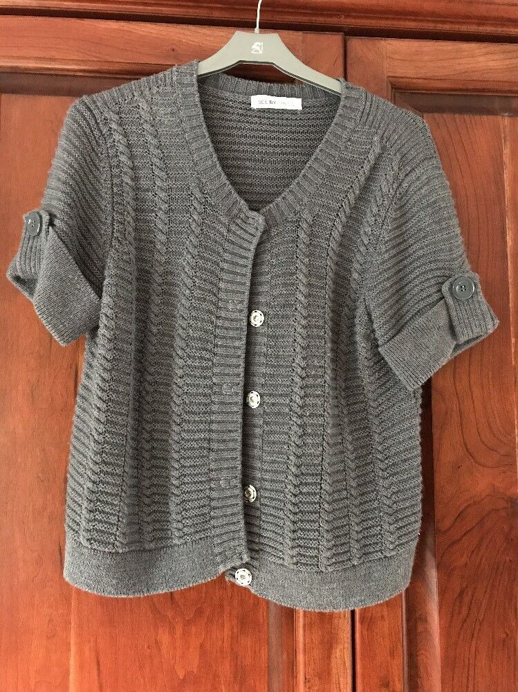 Chloe Grey Short Sleeved Cardigan