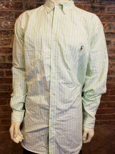 Ralph Lauren LS Button Up Shirt Oxford Green White
