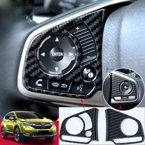 Carbon-Fiber-Steering-Wheel-Trim-Decor-Sticker-For-Honda-Civic-2016-2018-Decor