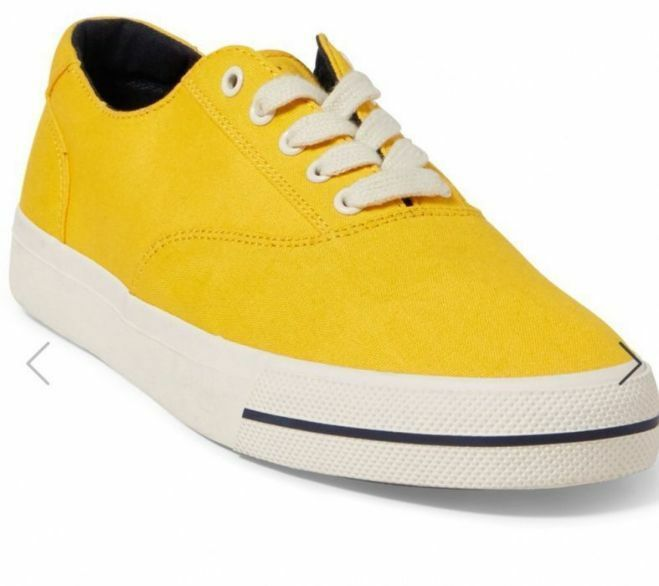 Ralph Lauren Men's Sneaker, Summer92, gold Navy, Canvas, 8