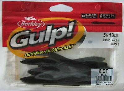 "BERKLEY GULP Jumbo Leech 5/"" 8ct Jig Trailer Soft Plastic Fishing Bait BLACK"