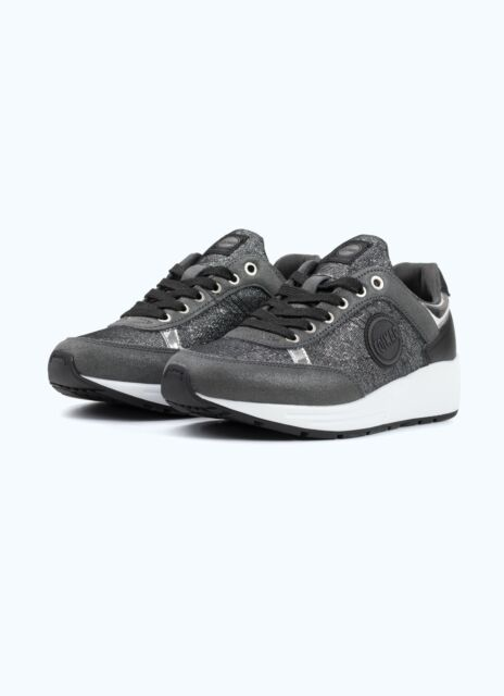 Sneakers Donna Colmar Travis Punk Scarpe Pelle Lurex Grigio Memory Foam Nuove