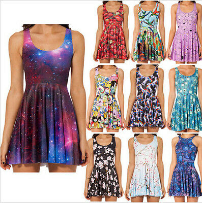 2014 New Sexy Women Galaxy dress Cartoon Adventure Time Dress SKATER HOT