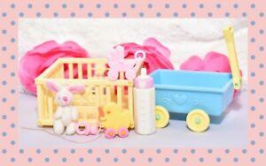 My-Little-Pony-G1-VTG-Loving-Family-Euro-Playset-Lot-Wagon-Baby-Playpen