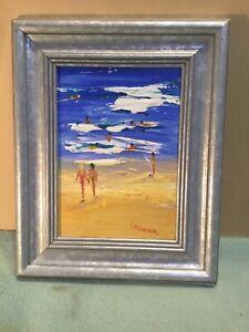 L-M-Church-Beach-Scene-Framed-Oil-Painting