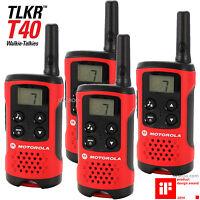 4 x Motorola Talker TLKR T40 2 Way Walkie Talkie Compact PMR446 Radio QUAD Pack