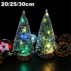 LED-Mini-Sisal-Christmas-Trees-Ornament-Snow-Frost-Small-Pine-Tree-XMAS-Decor