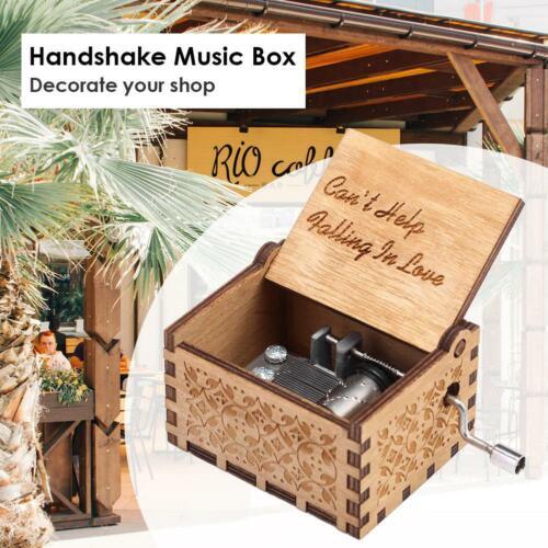 Retro Music Box Wood Hand Cranked Music Box Home Craft Ornament Decor Xmas Gifts