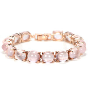 57-90-CT-REAL-AAA-ROSE-QUARTZ-11X9-MM-OVAL-STERLING-925-SILVER-BRACELET-7-75