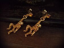 Vintage Butler & Wilson Topaz Crystal Hanging Monkey Pierced Earrings Rare