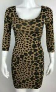 BNWOT DIVIDED by H&M leopard print fitted mini dress w/ quarter sleeves US4