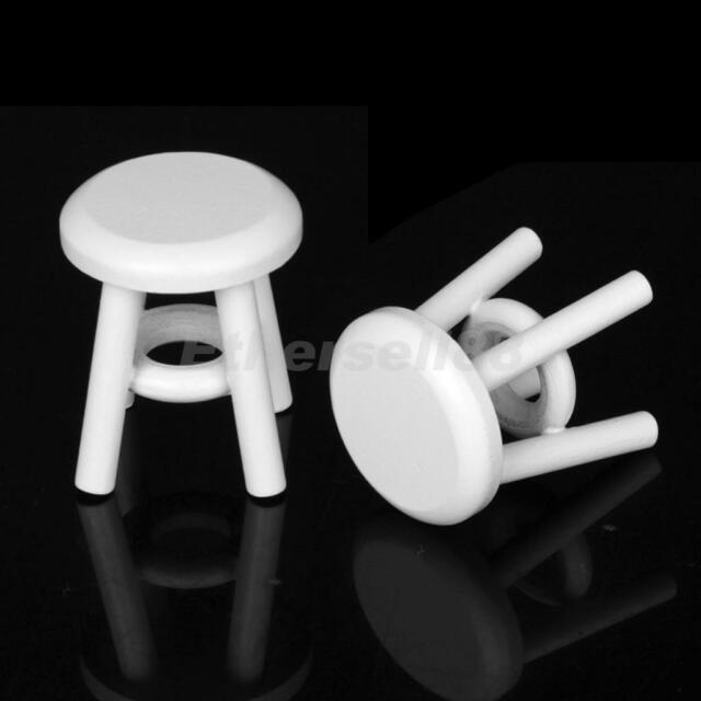 2 pcs 1:12 White Wooden Round Stool Seating Dolls House Miniature Wood Chairs