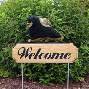 Pomeranian Dog Breed Oak Wood Welcome Outdoor Yard Sign Black & Tan